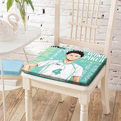 KaiWenLi Haikyuu!! Anime Chair Cushion Iwaizumi Pattern Square Cushion, Used For Car Seats, Desks, Computer Chairs, 15.7x15.7 Feet (40x40cm) Soft And Comfortable, Relieve Fatigue