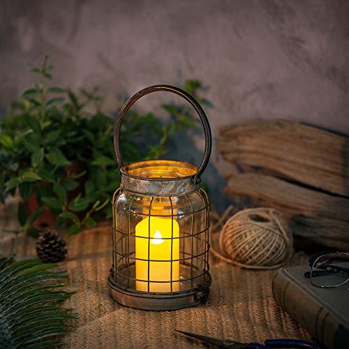 Glasseam Rustikale Dekorative Kerzenlaterne Säule Kerzenhalter, Metallglas Wandleuchte, Tragbare Batteriebetriebene Kerzenhalter, Bauernhaus Schlafzimmer Dekor Shabby Chic Dekor