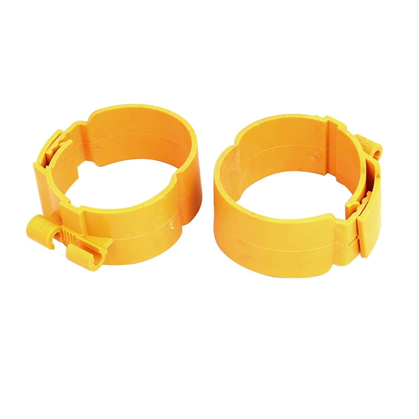 Aexit 75mm Dia Civil Equipment Hardware Accessories 38mm Width Central Air Conditioner Pipe Clip Clamp Yellow 2pcs Model:31as225qo411