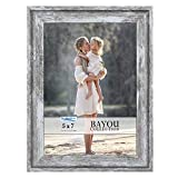 Icona Bay 5x7 Azure Gray Picture Frame, Cape Cod Style 5 x 7 Photo Frame, Table Top or Wall Mount, Bayou Collection