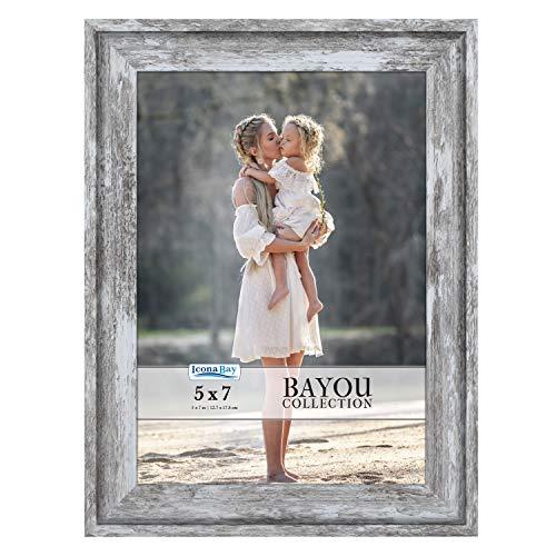Molduras Icona Bay 12 x 18 cm (cinza escuro, 3 pacotes) para fotos estilo Cape Cod 12 x 17 cm, suporte para mesa ou parede, coleção Bayou