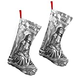 Pummbaby Gothic Black White Statue Weird Girlmerry Christmas Stockings Xmas Socks Ornament Themed 10 Inch Double 2pcs Large Pair Formal Unique Female Male Hanger Pole