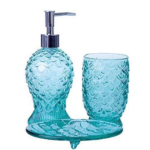 RTDotey Conjunto De Accesorios De Baño De Piezas De Vidrio De Diseño De Baño, Incluye Dispensador De Loción Copa De Dientes Copa De Jabón Accesorios DE Accesorios DE Accesorios,Azul
