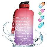 KEEPTO Water Bottle mit Trinkhalm,2.2 L Breiter Mund Motivierende Wasserflasche mit Zeitmarkierungs-Tracker,BPA-frei Sport Trinkflasche für Fitness-Sportarten im Freien.04M01