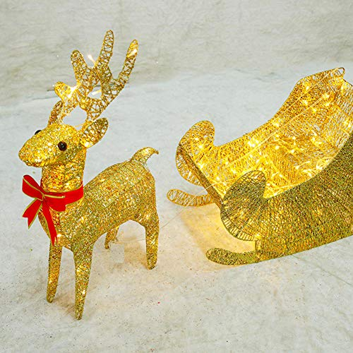 YWZQ Light Up Glitter Iron Reindeer with Sleigh Warm White LED Light Metal Frame for Indoor Outdoor Christmas Lights Decorations,60cm