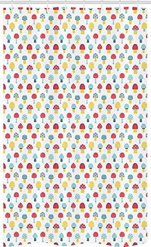 ABAKUHAUS Pilz Schmaler Duschvorhang, Cartoon Herbstwald Lebensmittel, Badezimmer Deko Set aus Stoff mit Haken, 120 x 180 cm, Senf Dunkle Koralle & Blau