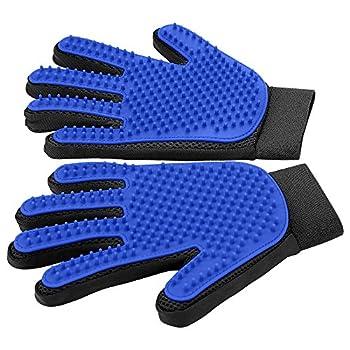 [Upgrade Version] Pet Grooming Glove - Gentle Deshedding Brush Glove - Efficient Pet Hair Remover Mitt - Enhanced Five Finger Design - Perfect for Dog & Cat with Long & Short Fur - 1 Pair  BLUE
