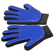 [Upgrade Version] Pet Grooming Glove - Gentle Deshedding Brush Glove - Efficient Pet Hair Remover Mitt - Enhanced Five Finger Design - Perfect for Dog & Cat with Long & Short Fur - 1 Pair