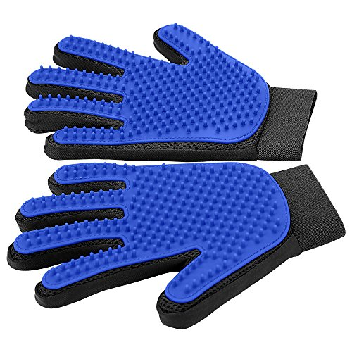 Upgrade Version Pet Grooming Glove  Gentle Deshedding Brush Glove  Efficient Pet Hair Remover Mitt  Enhanced Five Finger Design  Perfect for Dog amp Cat with Long amp Short Fur  1 Pair BLUE