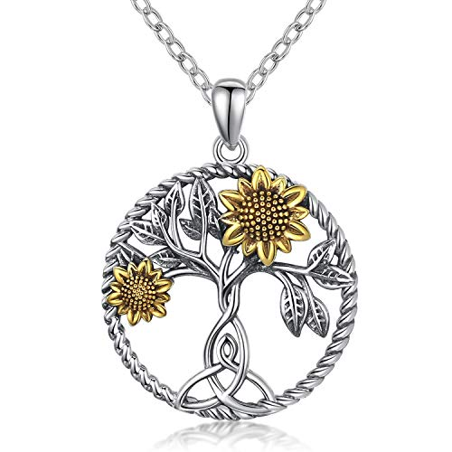 Dainty Sunflower Pendant Necklace For Women 925 Sterling Silver Celtic Knot Round Pendant Necklace You Are My Sunshine Gifts For Girl Mothers Day Gifts For Mom