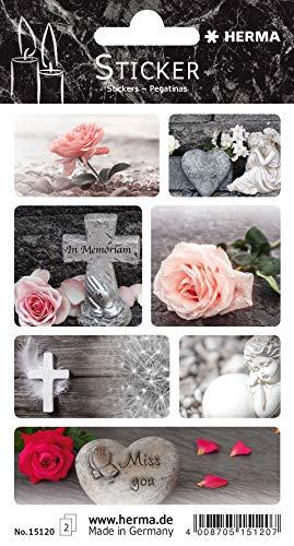 HERMA 15120 Sticker für Trauer Beileid Kirche, selbstklebende Aufkleber mit Rosen, Blumen, Herz, Kreuz, Engel, Miss You Motiven in schwarz weiß und Farbe, 14 Traueretiketten