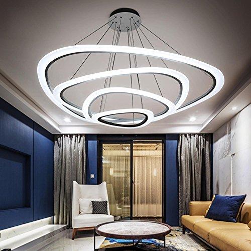 AMZH Nordic kreative atmosphäre Ring kronleuchter LED Wohnzimmer Schlafzimmer Restaurant licht nach Moderne einfache acryl Lampe Nano-führungsplatte hochdurchlässigkeit deckenleuchte, 4