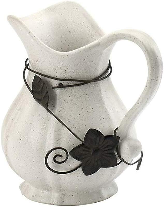 Twisting Flower White Black Speckle 7 X 3 Glossy Ceramic Reactive Pitcher