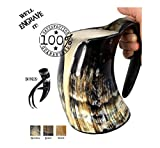 AleHorn - Viking Drinking Horn - Large Tankard - Genuine Handcrafted Beer Cup for Ale, Mead - Food Safe - Medieval Style Mug Inspired by Game of Thrones - Great Gift