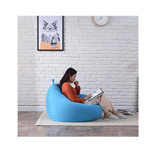 Silla Beanbag con cremallera Inicio Pequeno Perezoso Puff Sofas Bolsa De Frijoles Gaming Lounger Giant Puffs Pera Muebles De Jardin Para Interiores Y Exteriores (Color : Blue , Size : 35.4x39.4in)