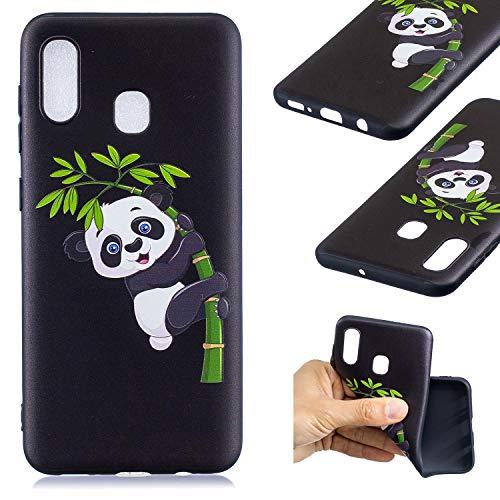 HopMore Compatible pour Coque Samsung Galaxy A30 2019 Silicone Noir Étui Motif Drôle Créative Panda Kawaii Etui Samsung A30 Souple Antichoc Housse de Protection Mince Gel Case Fine - Panda de Bambou