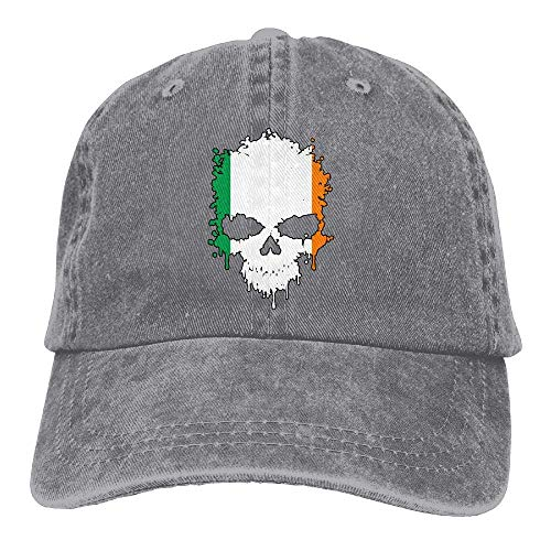 Herren/Damen Irland Schädel Garngefärbte Denim-Baseballmütze Einstellbare Hip-Hop-Kappe Einheitsgröße Erwachsener Design Druck