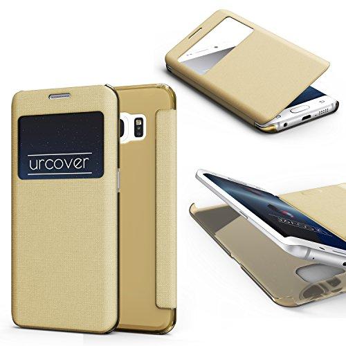 Urcover® View Hülle kompatibel mit Samsung Galaxy S6 Edge Plus Handyhülle [ Transparente Rückseite ] Champagner Gold Transparent Hülle Schutz Hülle Cover Handytasche