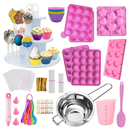 Cake Pop Maker Kit 454Pcs Silicone Lollipop Mold Set, Baking Supplies with 3 Tier Cake Stand, Chocolate Candy Melting Pot, Lollipop Sticks, Silicone Cake Cup, Decorating Pen and Twist Ties