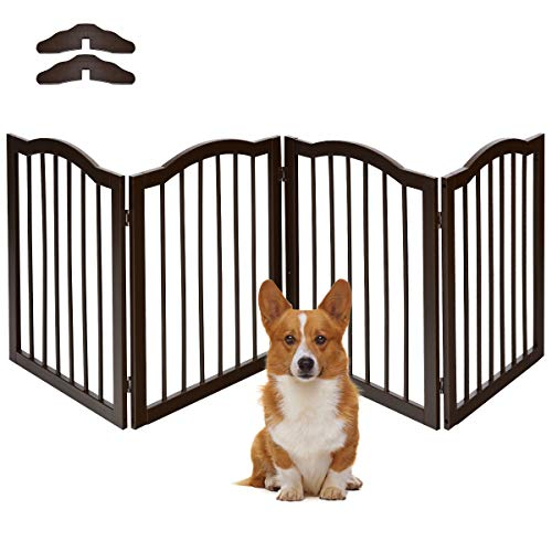 COSTWAY Absperrgitter Hunde, Schutzgitter Kieferholz, Kindergitter flexibel, Treppengitter Hundeabsperrgitter Türschutzgitter (204 x 61 x 2 cm / 4 Stücke)