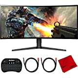 LG 34GK950F-B 34 inch UltraWide QHD Curved LED FreeSync Gaming Monitor 2018 Model Bundle with Deco Gear 2.4GHz Wireless Backlit Keyboard Smart Remote with Touchpad Mouse, 2X HDMI Cable and Cloth