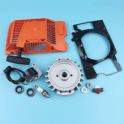Haoyueda Interruptor de bobina de arranque de retroceso Ingition Ingition Compatible con Husqvarna 268 272 272 27222 Sello de aceite de motosierra Conductor de aire