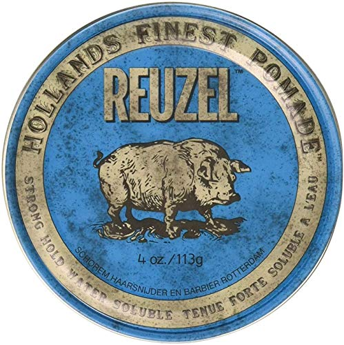 Reuzel - Blue Strong Hold Water Soluble Pomade For Men - High Shine & Gloss - Maintains Pliability - Non-Hardening - Non-Flaking - Calming Vanilla Wood Scent - Easy To Wash Out - 4 oz / 113 g