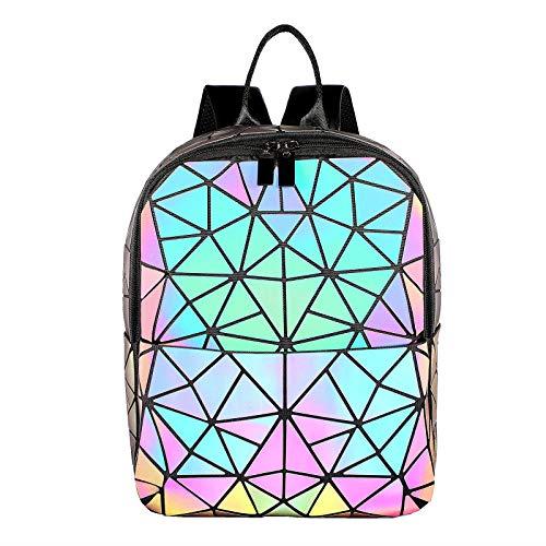 LOVEVOOK Geometrischer Rucksack Damen, Holographic Daypack Tasche PU, Leuchtende Bunt Rucksack Klein für Alltag, Party, Schule