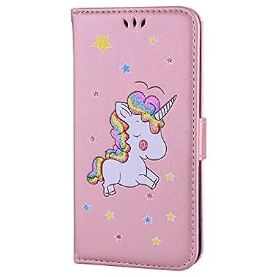 Ailisi Funda iPhone 6/6S, [Unicornio] PU Leather Carcasa, Anti-rayones Wallet Flip Case Cover con Cierre Magnético (Oro Rosa)