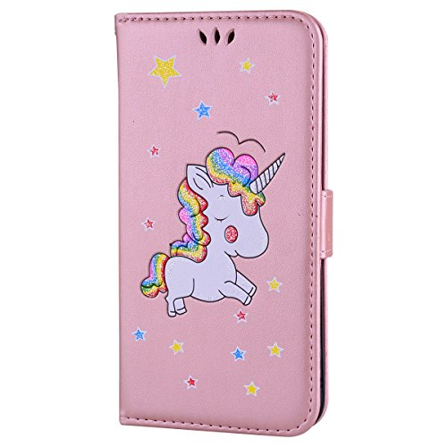 Ailisi Cover iPhone 6/6S, Unicorno Bling Glitter Flip Cover Custodia Caso Libro Pelle PU e TPU Silicone con Funzione Supporto Chiusura Magnetica Portafoglio - Oro Rosa