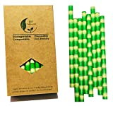 Cannucce di carta per frullati e milkshakes, extra larghe da 10mm, fantasia bambù, 32 p...