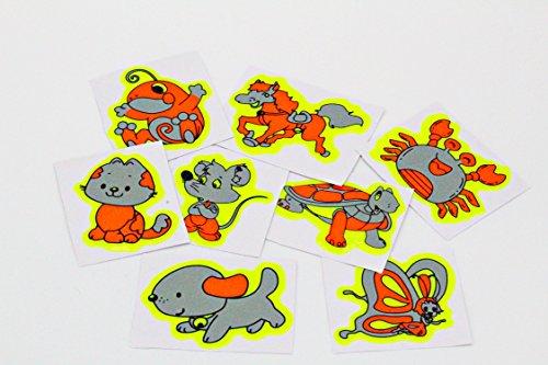 greestick Tiere Aufkleber Reflektierend 8 Stück Set Reflektoren Sicherheits Sticker Zoo Reflektorsticker Neongelb