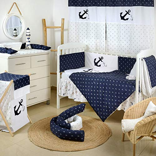 Save %16 Now! [Navy Anchor Patch Nautical] Crib Bedding Set (3PC Bedding Set + 1 x Hamper)