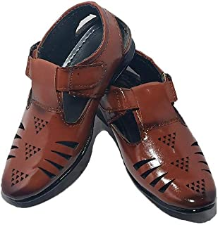 FOOTONREST Boys Latest Brown Color Outdoor Formal Casual Ethnic Daily Use Loafer Slip-On Sandals 1 Year to 11 Years Kids