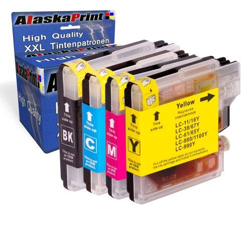4X Druckerpatronen kompatibel für Brother LC-980 XL LC980 XL Brother DCP-145C DCP-163C DCP-165C DCP-167C DCP-185C DCP-195C DCP-365CN DCP-373CW DCP-375CW DCP-377CW DCP-383C DCP-385C