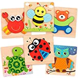 coogam wooden jigsaw puzzle set, 6 pack animal shape color montessori toy, fine motor skill early