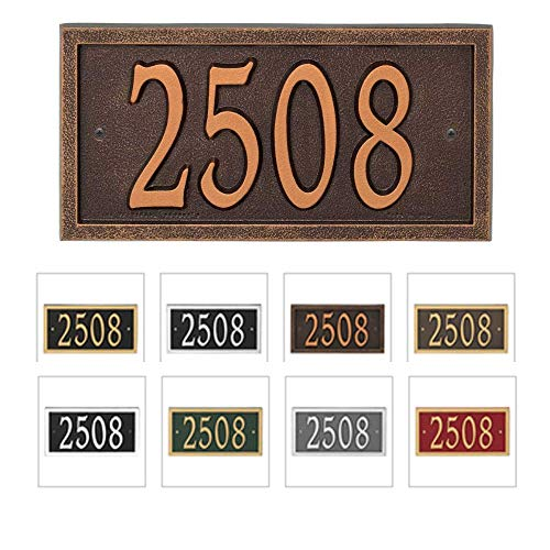 Comfort House Metal Address Plaque House Number Sign # P2836 - Color choices black with gold, green, antique brass, red, silver, white, antique copper, bronze, oil rubbed bronze, pewter