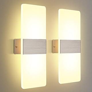KINGSO 2 Pack Applique Murale LED Intérieure 12W Blanc Chaud 3000K AC 230V Lampe Murale en Acrylique Design Moderne Decora...
