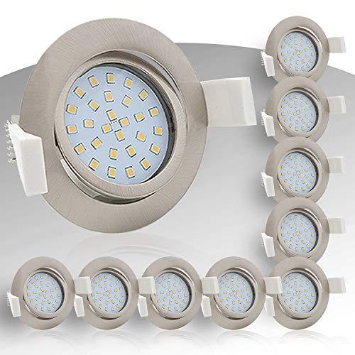 9x Lumare LED Einbaustrahler 4W 400lm 230V IP44 Ultra flach Wohnzimmer, Badezimmer Einbauleuchten silber rund, 68mm EinbauØ Mini Slim Spot warmweiß