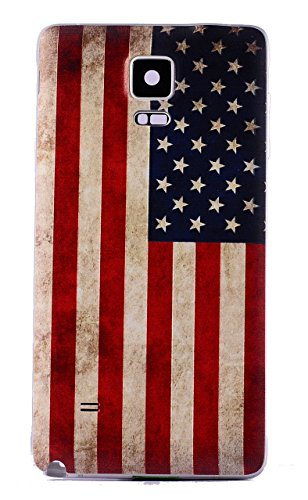 Nsiucion Samsung Galaxy Note 4 Battery Back Cover Case, Painted Replacement Housing Door Plastic Hard Back Cover Case for Samsung Galaxy Note 4 (Ancientry USA Flag)