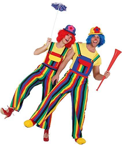 Fancy Me Coppia di Salopette da Donna e da Uomo, Colorate, Arcobaleno, Clown Circo, Carnevale, Orgoglio, Celebrazione, Eventi