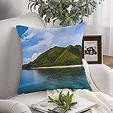 Funda de almohada decorativa suave impresionante nubes vacaciones océano colores árbol colinas playa en sueños Hill Island Lake Nature vista al agua 20 x 20 pulgadas