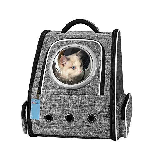 Honeypet[2021最新型]ポータブルペットキャリーバッグ 猫バッグ 犬キャリーリュック 宇宙船型 通気性、安定性抜群 折り畳み 収納 犬 猫 小動物適用 旅行 通院 散歩 電車移動 避難用 グレー