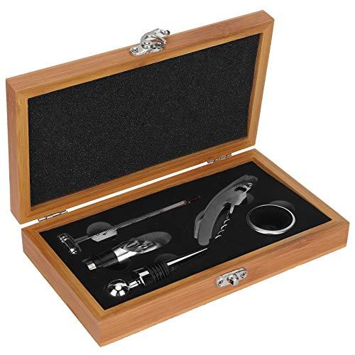 Juego de sacacorchos con abridor de vino con caja de madera, kit de regalo de accesorios para botellas de vino de 5 piezas, sacacorchos, tapón de vino, vertedor, anillo de vino y termómetro