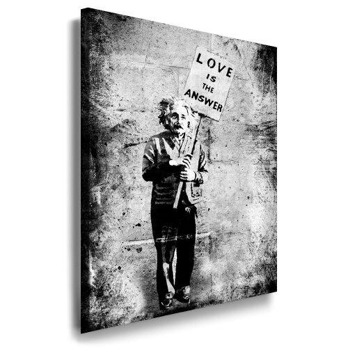 Leinwandbild Banksy Graffiti - Einstein Art Street Art Graffiti Dolk Leinwand Bild 101x71x2cm von artfacktory24 fertig auf Keilrahmen - Kunstdrucke, Leinwandbilder, Wandbilder, Poster, Gemälde, Pop Art Deko Kunst Bilder