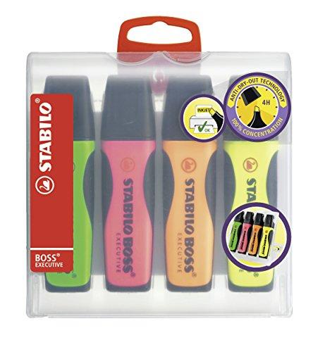 Premium-Textmarker - STABILO BOSS EXECUTIVE - 4er Pack - grün, pink, orange, gelb