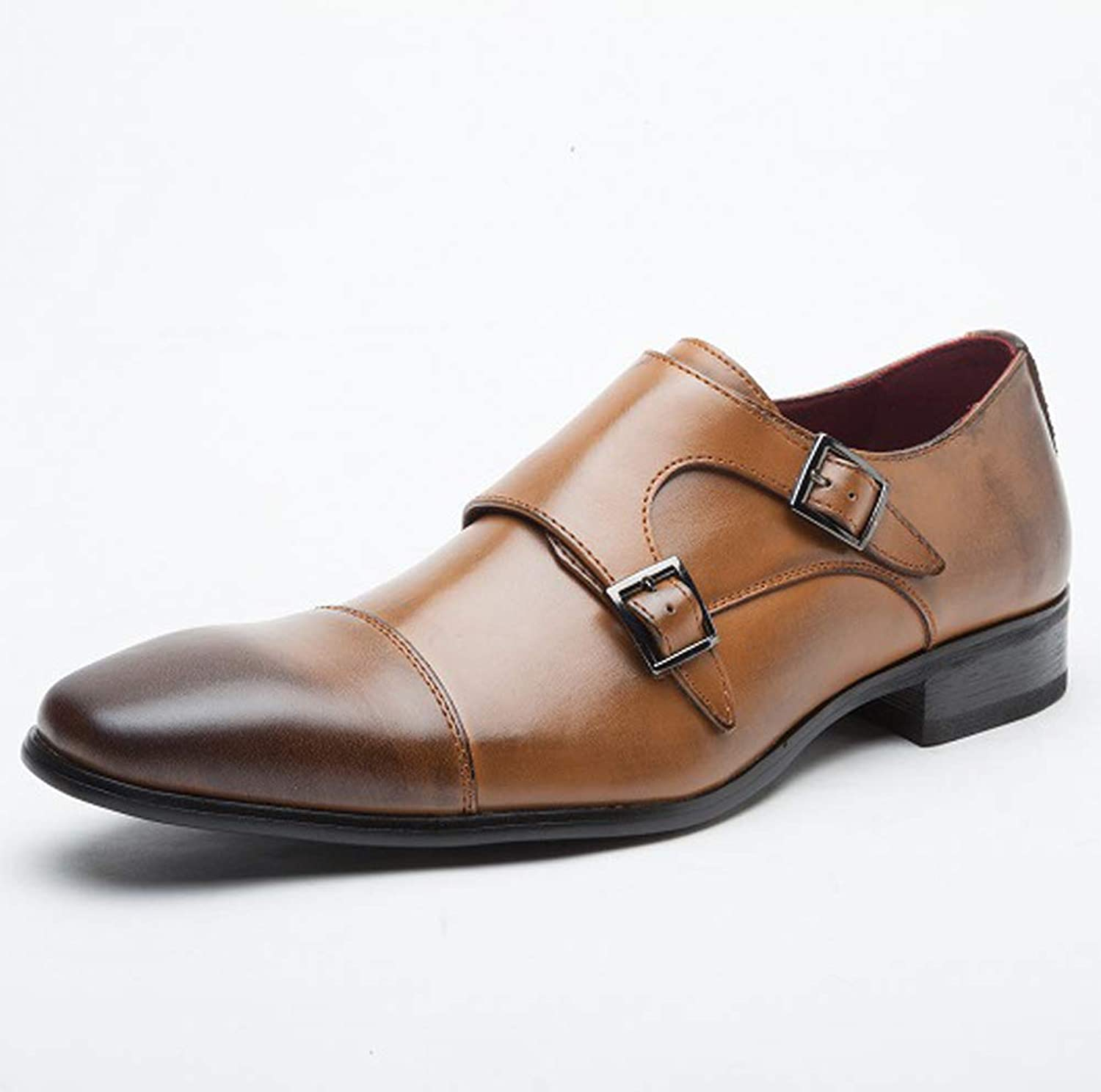 TAZAN Business shoes men's formal wear casual leather shoes leather buckle dress uniform office retro wedding party four seasons breathable wear
