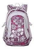 JiaYou Girl Flower Printed Primary Junior High University School Bag Bookbag Backpack(1# Purple,24...