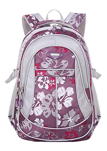 JiaYou Girl Flower Printed Primary Junior High University School Bag Bookbag Backpack(1# Purple,24 L)