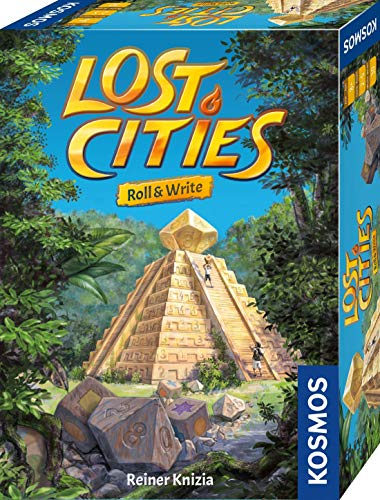 Kosmos 680589 Lost Cities Roll & Write, el Popular Juego de Aventura como Juego de Dados con Bloque y Seis Dados, para 2 a 5 Personas, Juego de Mesa para Adultos y niños a Partir de 8 años